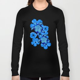 Blue Hibiscus And Honu Turtles Long Sleeve T-shirt