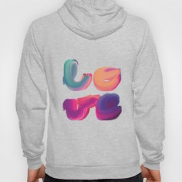 l-o-v-e brightly coloured painted lettering Hoody