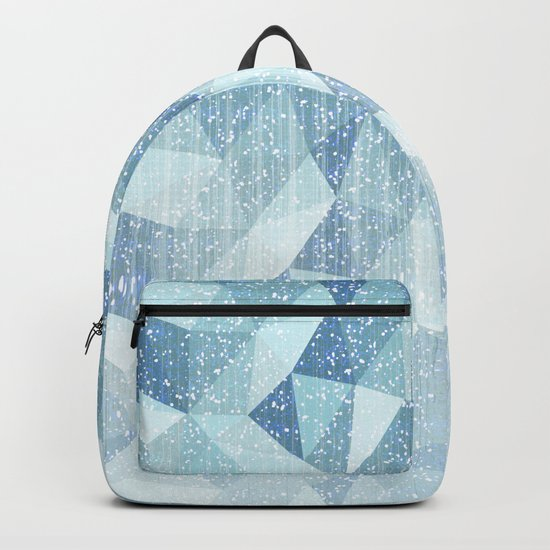 Abstract geometric pattern.Blue and white. Backpack