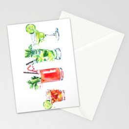 Four Cocktails - Watercolour Drinks - Party Print Stationery Cards