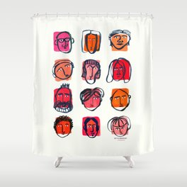 Red faces Shower Curtain
