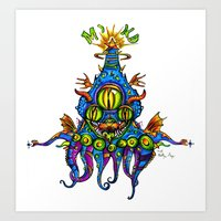 Levitating Mind Creature  Art Print