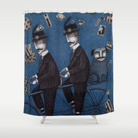 men Shower Curtains featuring Two Men Travelling by Judith Clay