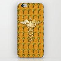 medical iPhone & iPod Skins featuring Gold Medical Caduceus by MacDonald Creative Studios