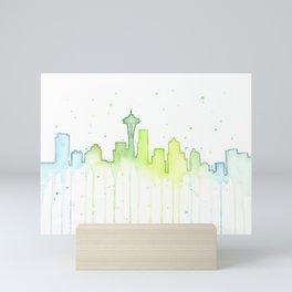 Seattle Skyline Watercolor Space Needle Painting Mini Art Print
