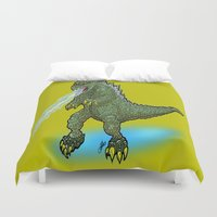 pacific rim Duvet Covers featuring King of the Monsters... GODZILLA!  This is the Kaiju the Jaegers of Pacific Rim SHOULD be Fighting! by beetoons