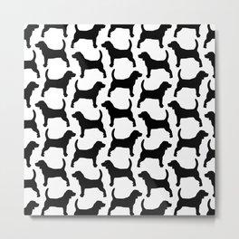 Black Beagle Silhouettes Pattern Metal Print