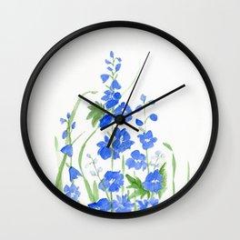 Blue Larkspur Watercolor Garden Flower Delicate Painting Wall Clock