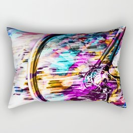bicycle wheel with colorful abstract background in pink blue orange Rectangular Pillow