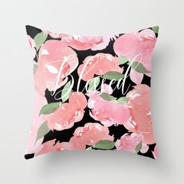 Blush Peony Blessed Throw Pillow