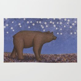 brown bear on a starlit stroll Rug