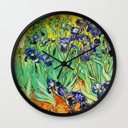 Purple Irises at St. Remy by Vincent Van Gogh Wall Clock