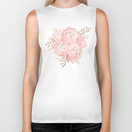 Roses Rose Gold Glitter Pink by Nature Magick Biker Tank