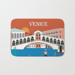 Venice, Italy - Skyline Illustration by Loose Petals Bath Mat