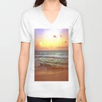 beach V-neck T-shirts featuring beacH Sunrise Sunset by Whimsy Romance & Fun