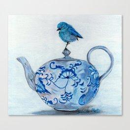 Blue Bird on Teapot Canvas Print