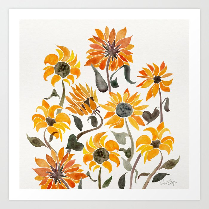Sunflower Watercolor – Yellow & Black Palette Kunstdrucke