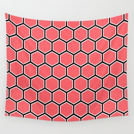 Bright coral, white and black hexagonal pattern Wall Tapestry