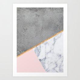 Marble Blush Gold gray Geometric Art Print