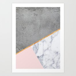 Marble Blush Gold gray Geometric Art Print