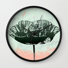 Beautiful Poppy Flower on Marble Design Wall Clock
