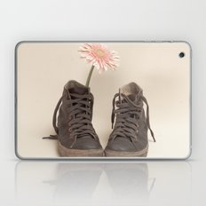 Brown Converse Boots and Pink Flower (Retro Still Life Photography)  Laptop & iPad Skin
