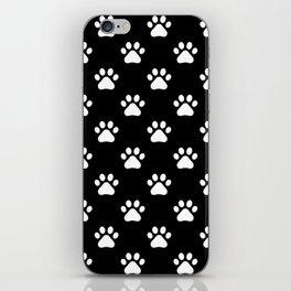 paw print black and white pattern iPhone Skin