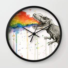 T-Rex Rainbow Puke Wall Clock