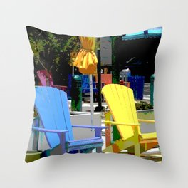 Brightly Colored Chairs Throw Pillow