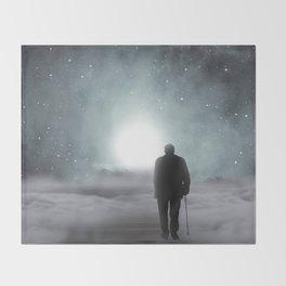 Old Man Walking Towards Heaven Throw Blanket