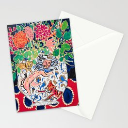 Lion, Cheetah and Tiger Still Life - Wildflowers in Wild Cat Vase After Matisse Stationery Cards