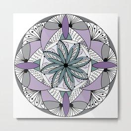 Mandala in Purple and Green Gray Metal Print