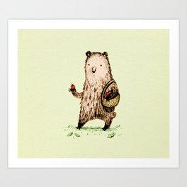 Apple Pickin' Bear Art Print