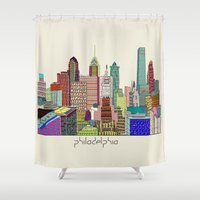 philadelphia Shower Curtains featuring Philadelphia city sklyine by bri.buckley