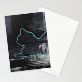 Teal Cat Silhouette Stationery Cards