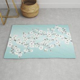 Cherry Blossoms Mint White Rug