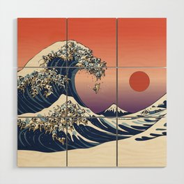The Great Wave of Pug Wood Wall Art