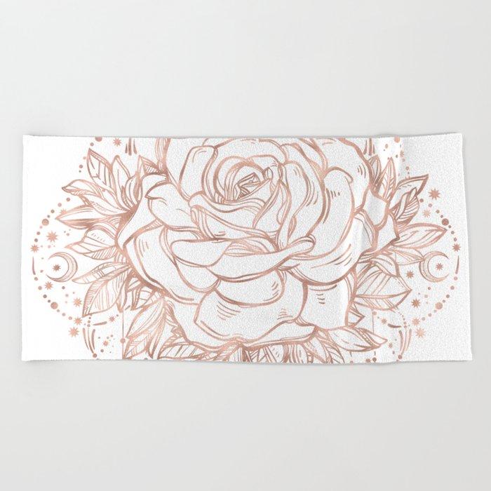 Mandala Lunar Rose Gold Beach Towel