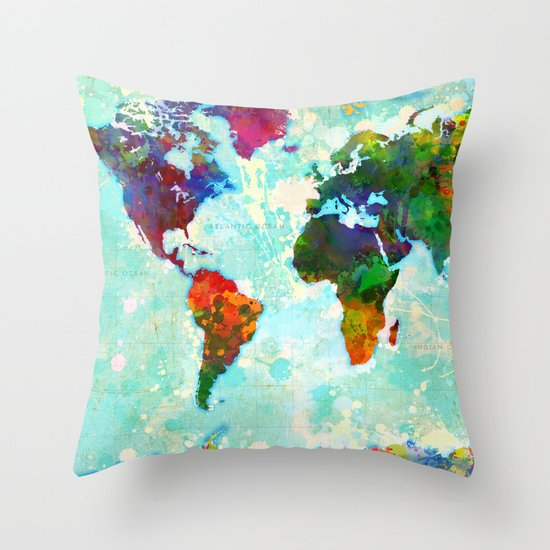 World Map - 1 Throw Pillow by Gary Grayson Society6