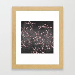SAKURA LOVE - GRUNGE BLACK Framed Art Print