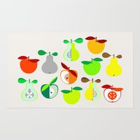 50s Area & Throw Rugs featuring Apples and Pears / Geometrical 50s pattern of apples and pears by In The Modern Era