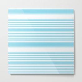 Sky Blue and White Stripes Metal Print