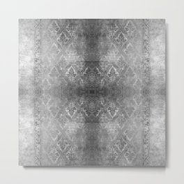 ANTIQUE SILVER DAMASK  Metal Print