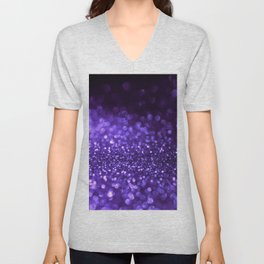Pantone Color 2018 Ultra Violet Purple Glitter Unisex V-Neck