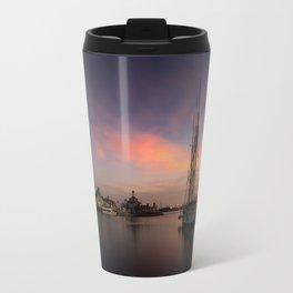 Sailboat moored in Long Beach at sunset Travel Mug