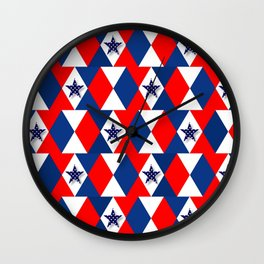 Patriotic red white blue 3d stars Wall Clock