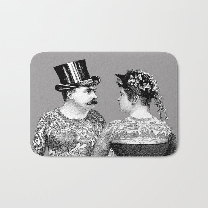 Tattooed Victorian Lovers Bath Mat
