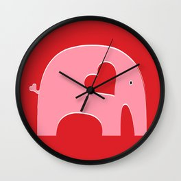 Pink Valentine Elephant Wall Clock