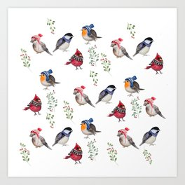 Birds of a Christmas feather Art Print