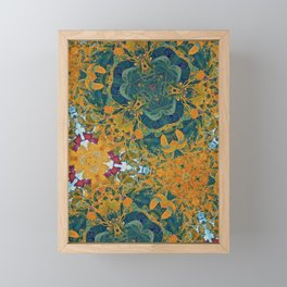 Orange and Green Flora Framed Mini Art Print